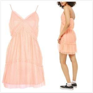 TOPSHOP Layered Tulle Slipdress Coral Size 2